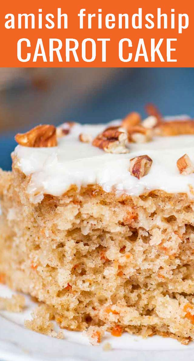 Tired of Amish Friendship Bread? Use your sourdough starter to make this Amish Friendship Carrot Cake. With cream cheese frosting, it is moist and full of fresh carrots and coconut. via @tastesoflizzyt
