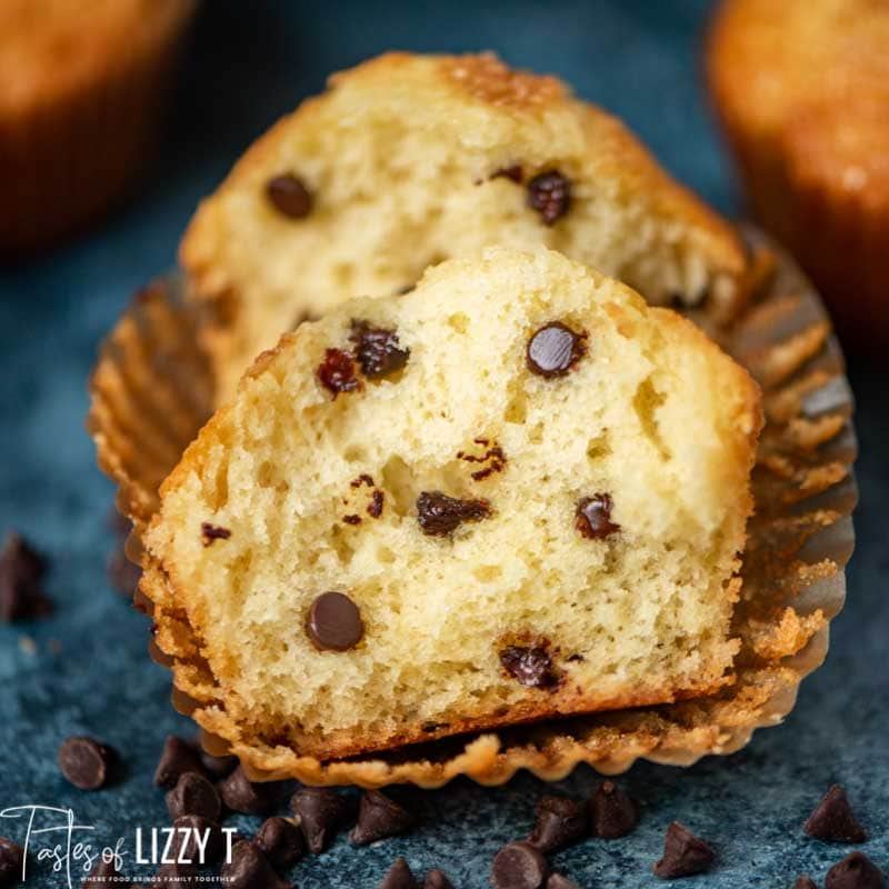 Amish Friendship Chocolate Chip Muffins cut in half in wrapper