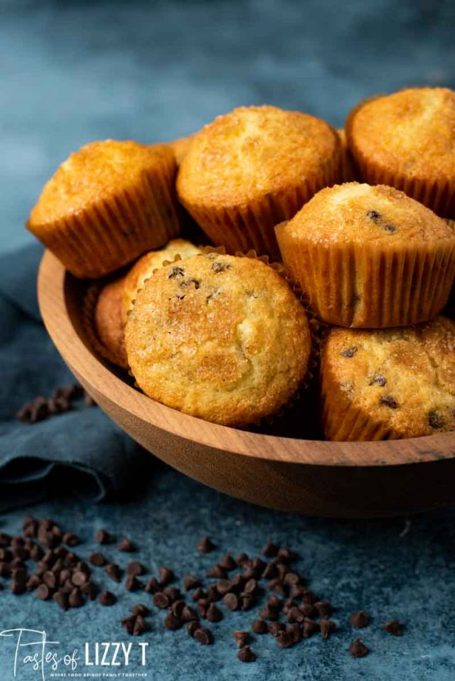amish friendship chocolate chip muffins in a bowl