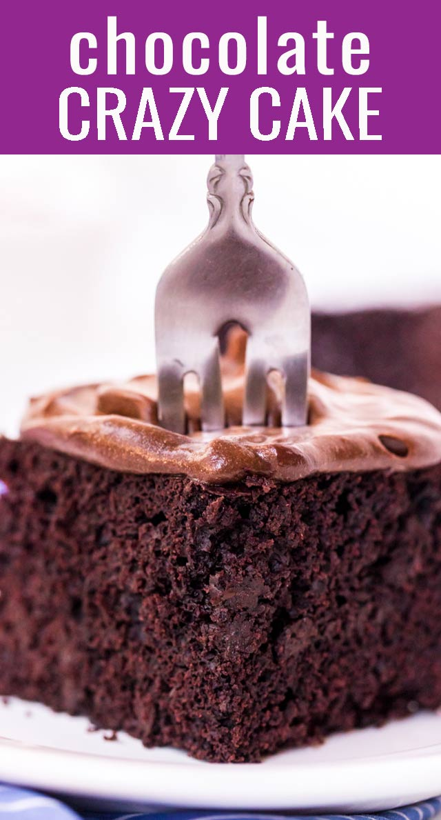 This chocolate cake recipe doesn't use any milk, eggs, or butter. It only uses pantry ingredients. Chocolate crazy cake sweet, delicious, and easy to make! via @tastesoflizzyt
