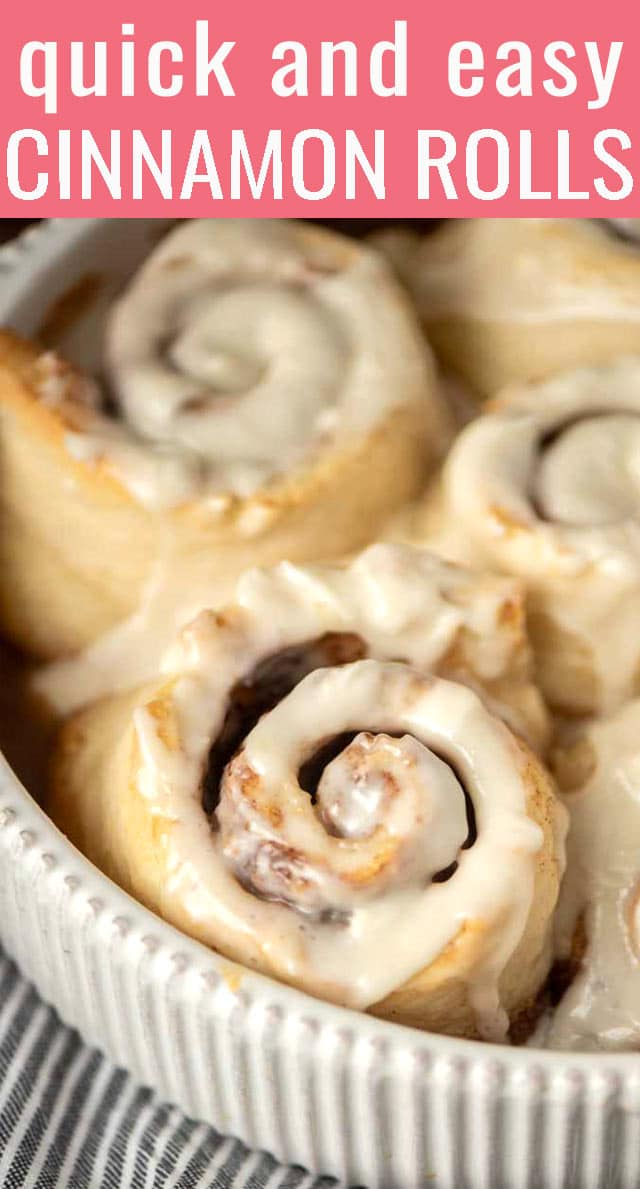 Bisquick Cinnamon Rolls are quick, easy and make just a small batch. Perfect for breakfast or brunch sweet roll cravings. via @tastesoflizzyt