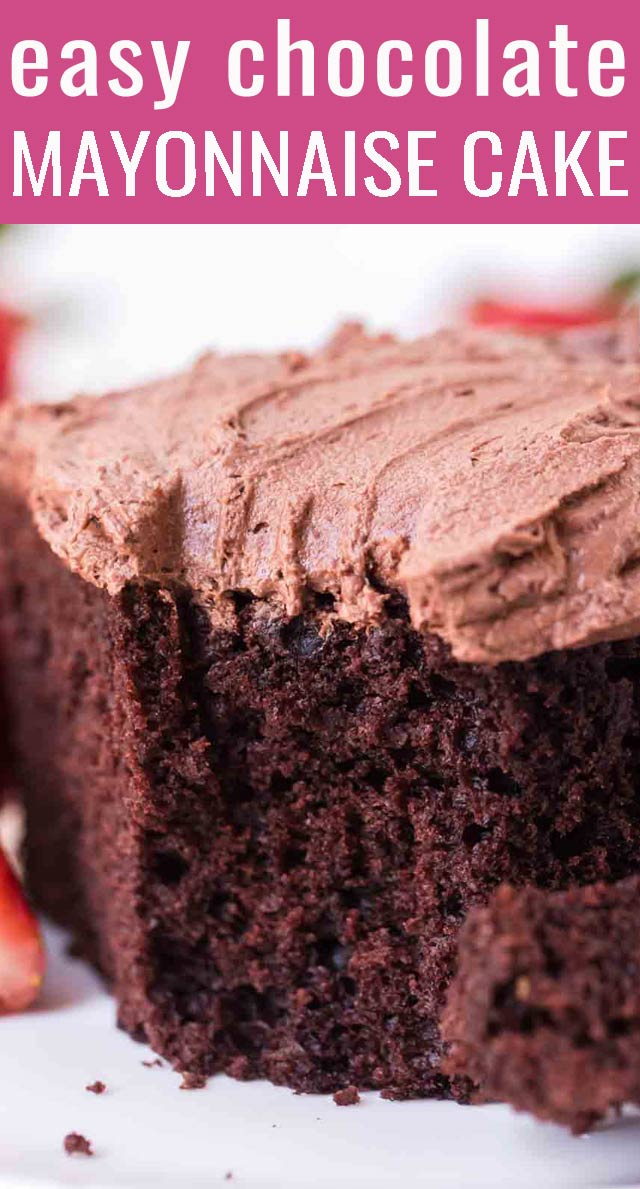 Old fashioned mayonnaise cake is moist and tender with no added oil or eggs. A from scratch chocolate cake with easy chocolate frosting! via @tastesoflizzyt