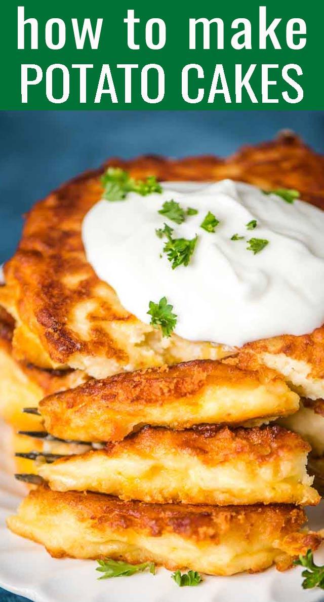 The best way to use up leftover mashed potatoes! Easy, cheesy, fried mashed potato cakes ready in under 30 minutes. via @tastesoflizzyt