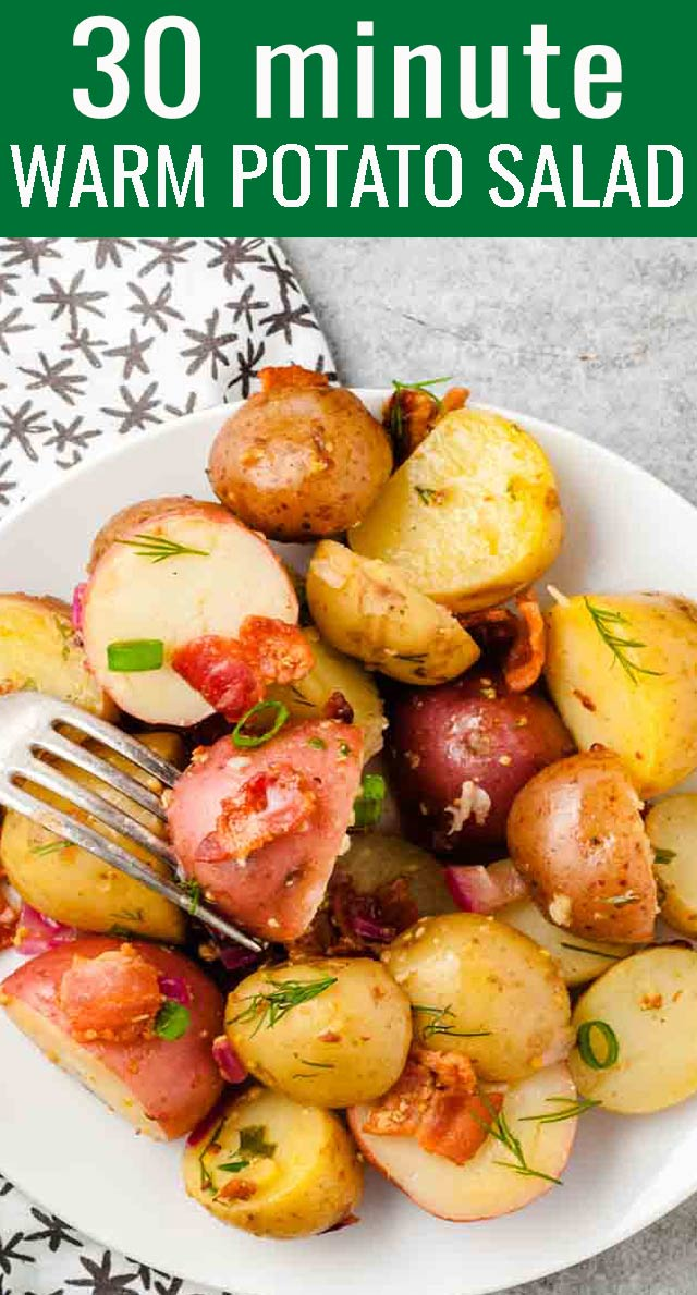 Comforting, warm potato salad with bacon and a tangy sauce complements just about any main dish meat. This easy side dish is bursting with flavor! via @tastesoflizzyt