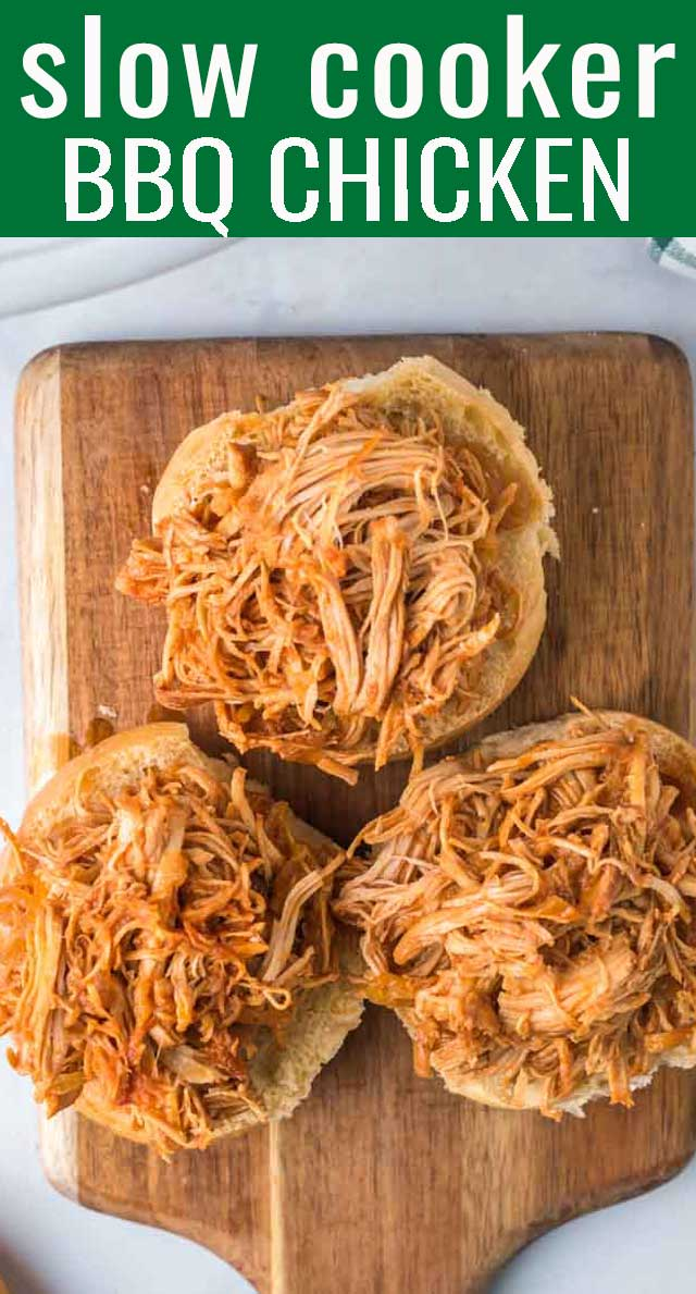 Shredded Barbecue Chicken Sandwiches made in the slow cooker with a simple homemade sauce. This recipe feeds a crowd so is perfect for picnics and potlucks. via @tastesoflizzyt
