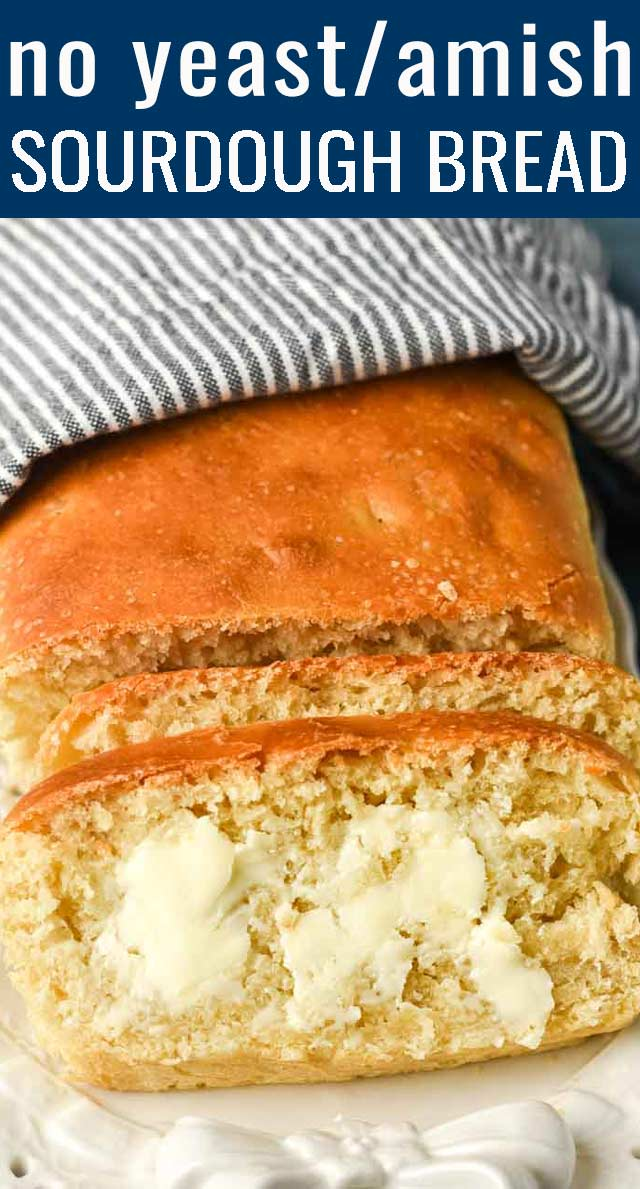 If you are looking for a new way to use your Amish friendship bread starter, try this easy, white bread that is perfect for sandwiches and savory meals. No additional sugar added! via @tastesoflizzyt