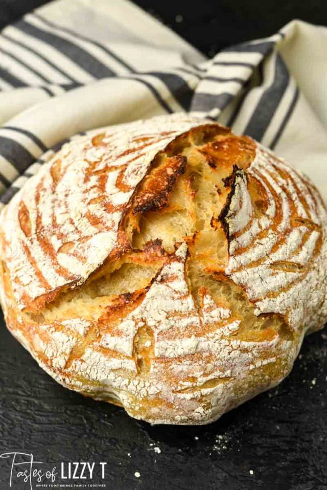 round artisan sourdough bread loaf