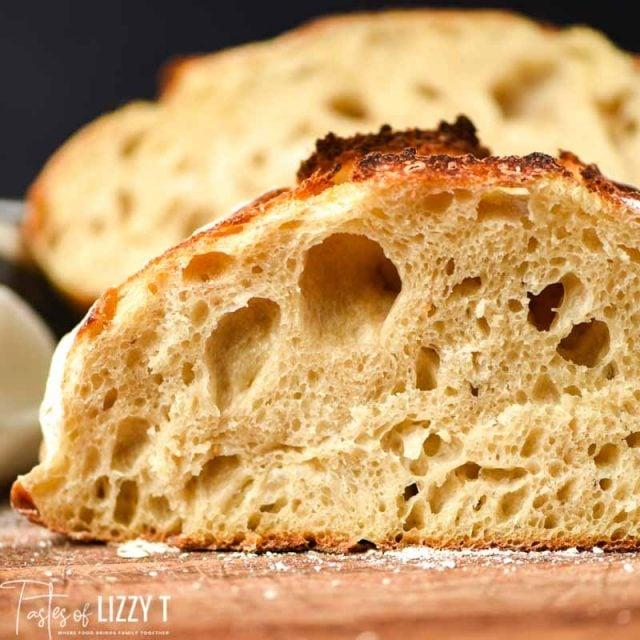 closeup of sourdough bread slice with holes