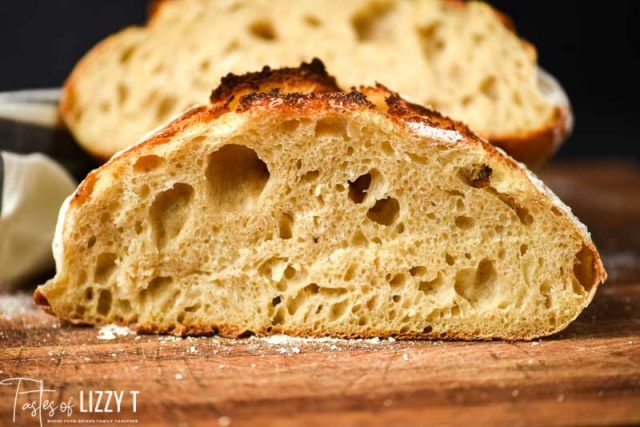 slice of sourdough bread with holes