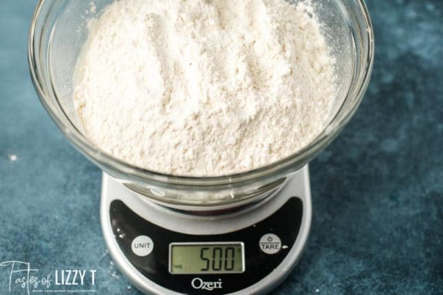 flour in a bowl on a scale