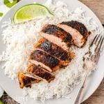 sliced chicken breast on rice