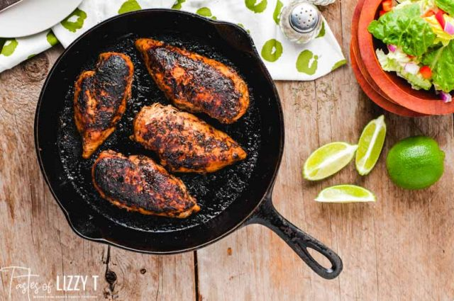blackened chicken in a cast iron skillet