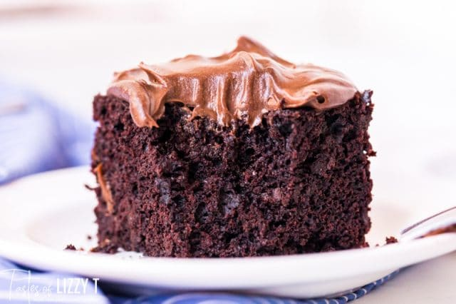 chocolate cake on a plate with chocolate frosting