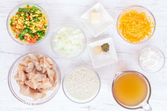 ingredients for creamy chicken and rice