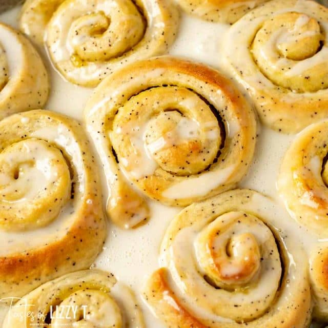 overhead view of lemon sweet rolls