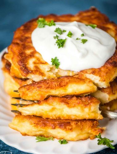 homemade potato cakes with fork on a plate