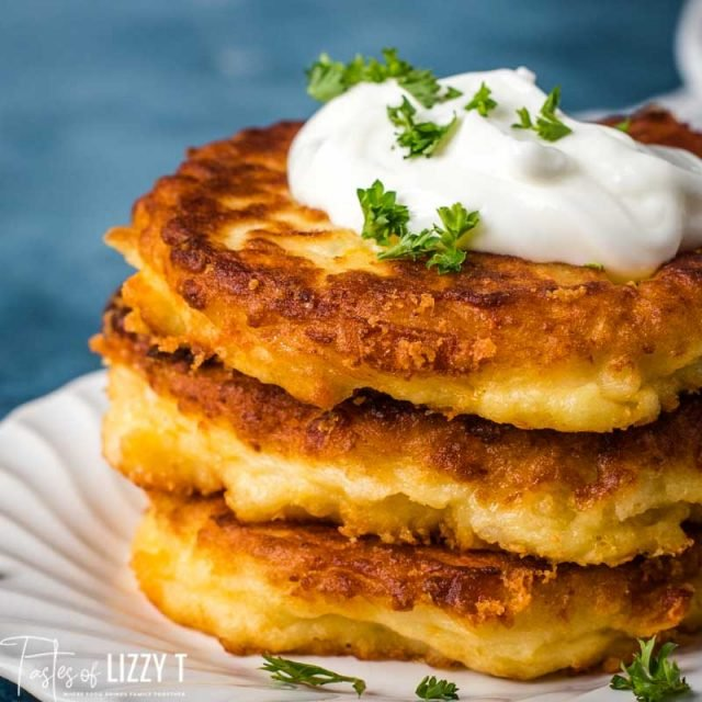 close up of golden brown stack of potato pancakes