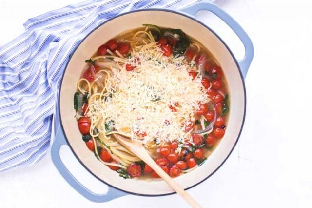 one pot pasta with shredded parmesan cheese