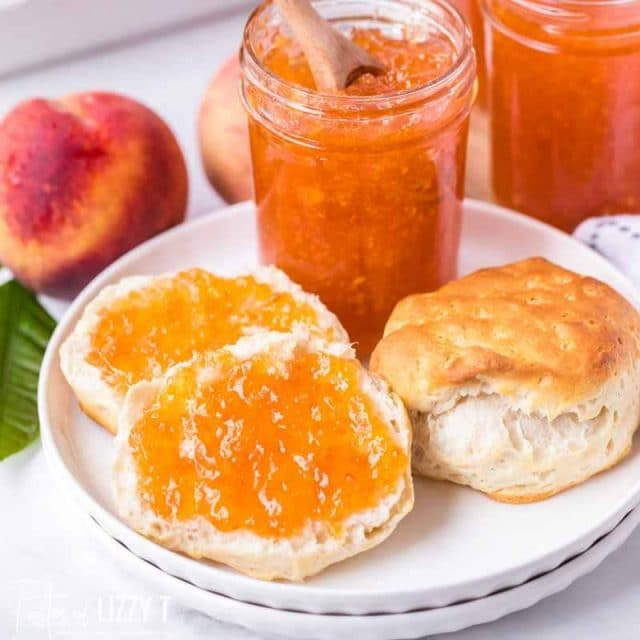 Food on a plate, with peach jam