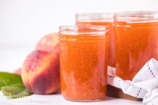 peach jam in a half pint jar