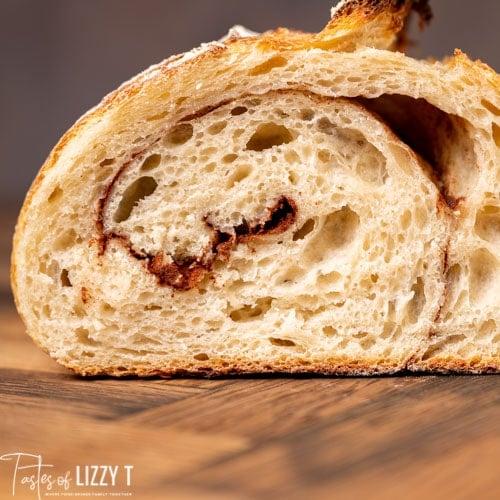 inside a loaf of artisan sourdough