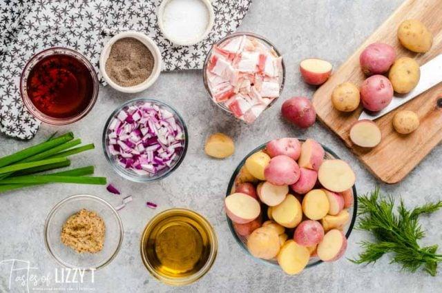 ingredients for warm potato salad