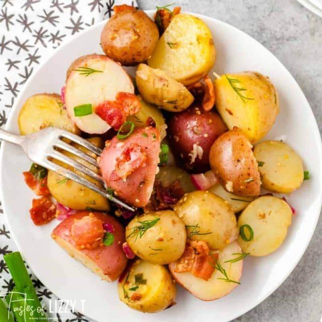 overhead shot of potatoes on a plate