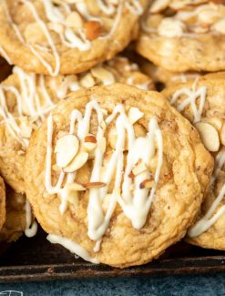 white chocolate chip almond cookies with drizzle