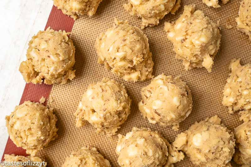 balls of white chocolate cookie dough