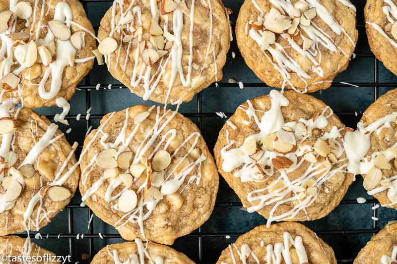 chewy cookies with white chocolate chips and almonds