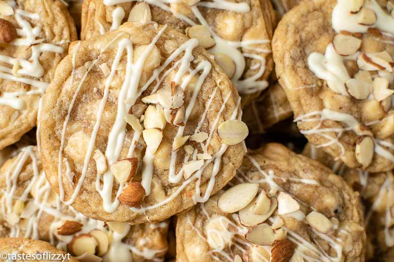 pile of white chocolate cookies with almonds