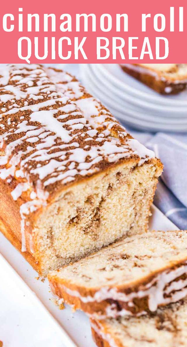 With a brown sugar cinnamon swirl and a sweet, crunchy glaze on top, Cinnamon Roll Quick Bread is a really fun and quick bread to put together. via @tastesoflizzyt