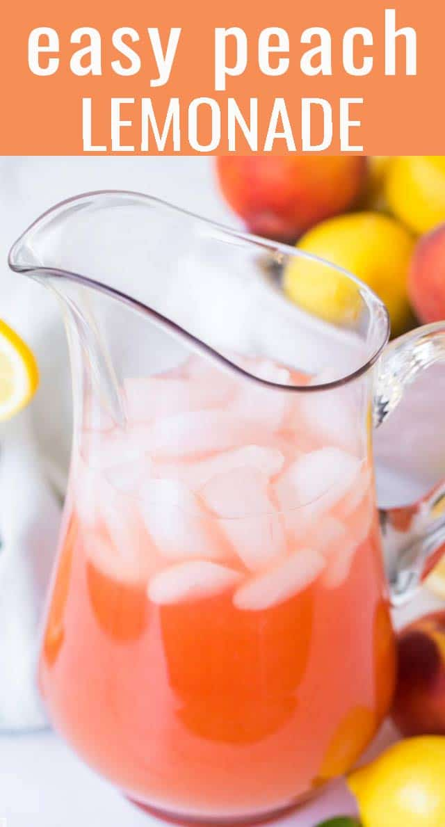 Use fresh peaches in this easy homemade peach lemonade. Sweet and slightly tangy, this is perfect as a summer drink for picnics. via @tastesoflizzyt