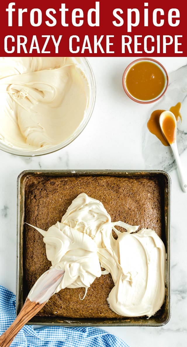 This Crazy Spice Cake uses only pantry ingredients...no milk, eggs, or butter. This easy cake recipe is has a store-bought frosting and sweet caramel sauce. via @tastesoflizzyt