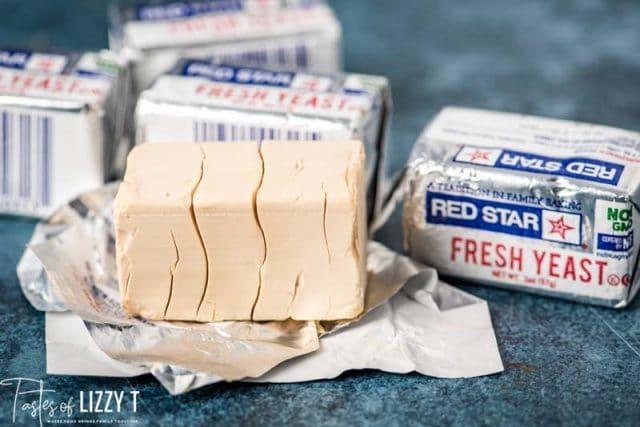 fresh cake yeast unwrapped