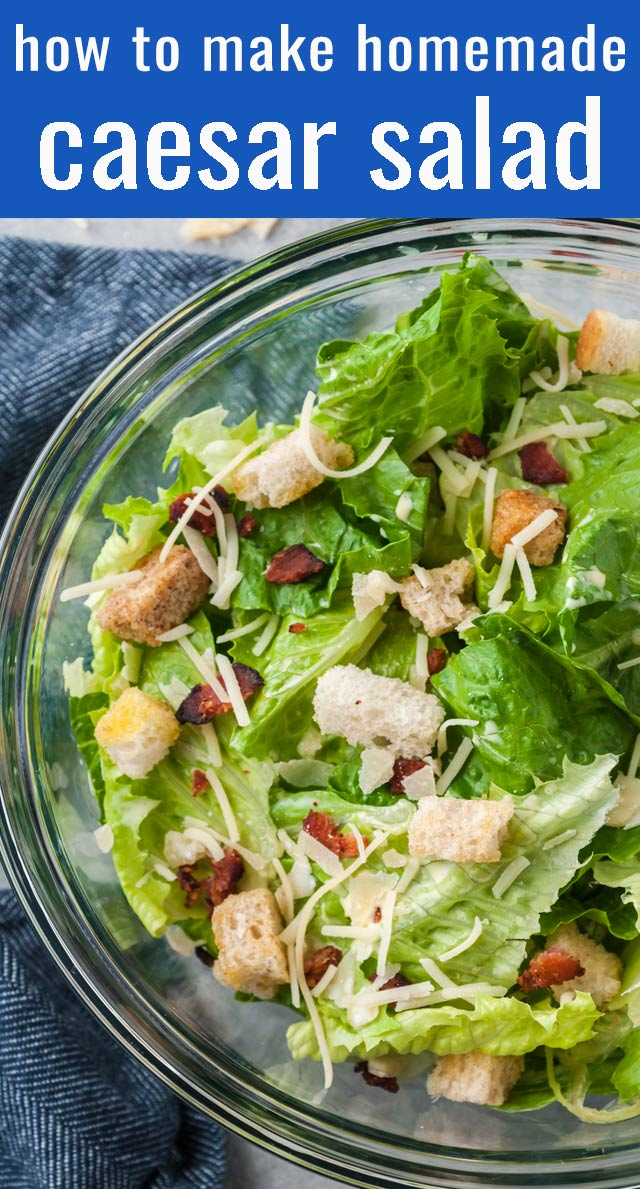 Everything you need to know about how to make Caesar Salad at home! This easy salad recipe can be served as a main dish or side dish. via @tastesoflizzyt