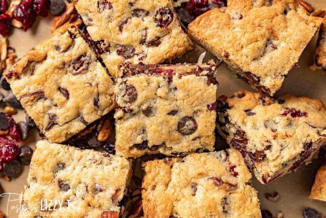 pile of chocolate chunk cranberry coconut blondies