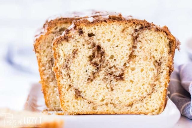 slice of cinnamon roll quick bread