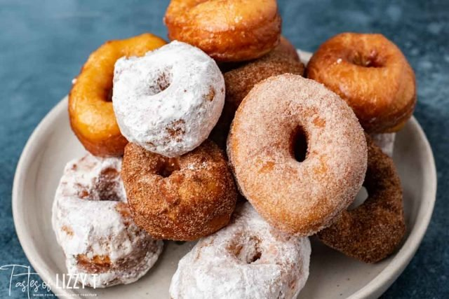 pile of homemade donuts