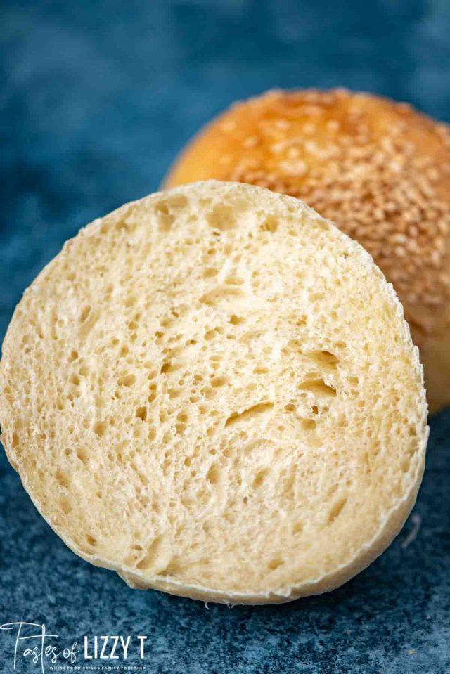 sliced open white hamburger bun