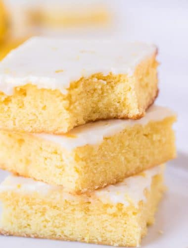 stack of 3 lemon brownies