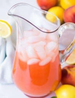 pitcher of peach lemonade