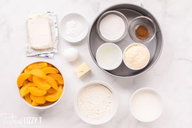 ingredients for peaches and cream cake