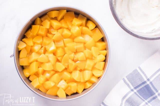 fresh peaches on a cake