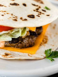 quesadilla burger on a plate