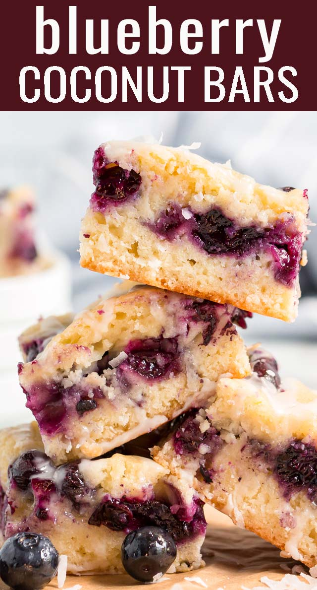 Flakes of coconut and bursts of tart berries are in every bite of these Blueberry Coconut Bars. The batter is the crust and the topping to keep it easy...and don't forget the glaze! via @tastesoflizzyt