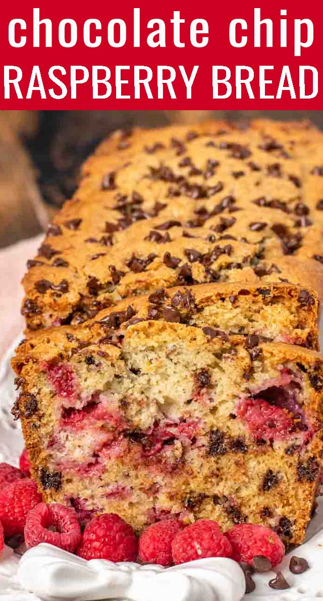 Sweet and tangy, this Chocolate Chip Raspberry Bread with fresh raspberries is a delicious breakfast or dessert. This quick bread is sure to bring smiles! via @tastesoflizzyt