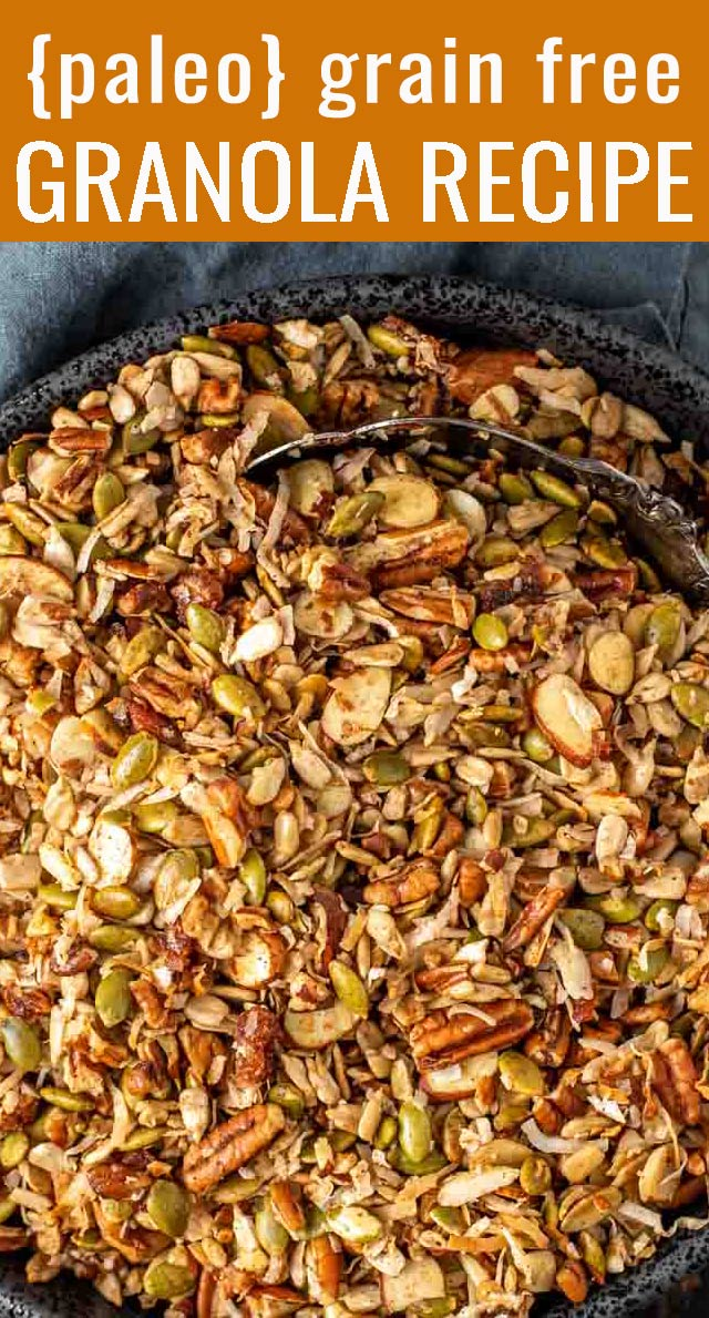 Here's a nutty, crunchy, paleo granola recipe baked in coconut oil and sweetened with dates. Serve this sugar-free recipe as a snack or for breakfast as cereal. via @tastesoflizzyt