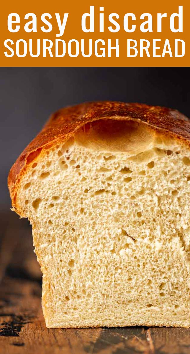 The best homemade bread! Soft, chewy sourdough bread with a beautiful golden brown crust. This easy homemade bread recipe makes two loaves and is the perfect white sandwich bread. via @tastesoflizzyt