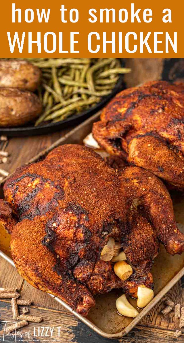 Learn how to make a bbq smoked whole chicken dinner on the grill. Buttery green beans, crispy baked potatoes and a fruit galette for the sides. via @tastesoflizzyt